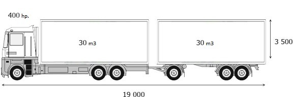 Dump truck 6x4 + three-axle trailer with a steel body